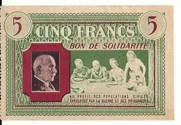 FRANCE 5 FRANCS BON DE SOLIDARITE XF++ - Bons & Nécessité