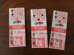 ANCIEN TICKET  BUS METRO  /  3 TICKETS  BOSNIE - Transportation Tickets
