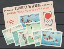 Panama 1964 Mi# 740-45+ Bl.22** AQUATIC SPORTS, OLYMPIC GAMES TOKYO 64 - Panama