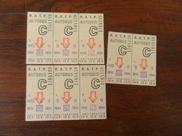 ANCIEN TICKET  BUS METRO  /  8 TICKETS   RATP - Transportation Tickets