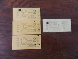 ANCIEN TICKET  BUS METRO  /  4 TICKETS   RATP - Transportation Tickets