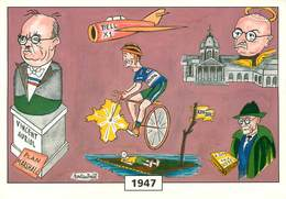 Illustrateur Rolandaël -Enghien Les Bains- Cyclisme - Jean Robic - Vincent Auriol  - Aviation Avion Bell X1 -Autographe - Altre Illustrazioni