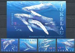 237 TOKELAU 1997 - Yvert 242/45 BF 17 - Baleine A Bosse Mammifere Marin - Neuf **(MNH) Sans Trace De Charniere - Tokelau