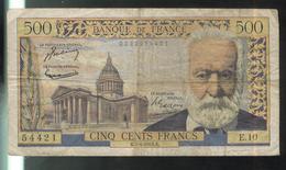 Billet 500 Francs Victor Hugo 7-1-1954 K - 1871-1952 Circulated During XXth