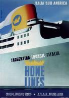 Italian Navigation Postcard Home Lines Argentina-Brasil-Italia 1950 - Reproduction - Advertising