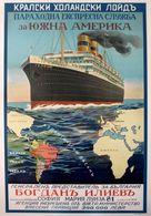 Bulgarian Navigation Postcard Bogdan Iliyev Sofia-Brazil-Argentina - Reproduction - Advertising
