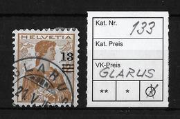 1915-1930 HELVETIA BRUSTBILD → Aufbrauchsausgaben SBK-133  ►GLARUS◄ - Gebraucht