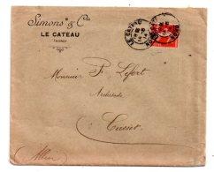France - Affranchissement  -1914-lettre- Entête Simons&Cie-Le Cateau- Voir état - Marcophilie (Lettres)
