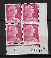 "FR Coins Datés YT 1011 "" Marianne Muller 15F. Rose "" Neuf** Du 24.2.55 - 1950-1959"