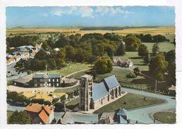 - CPSM MOYENNEVILLE (80) - L'Eglise Et La Mairie (vue Aérienne) - Editions SOFER - - France