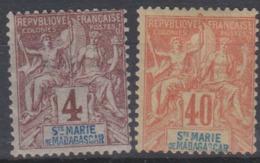 SAINTE-MARIE DE MADAGASCAR - 2 Valeurs De 1894 Neuves - Madagascar – Sainte-Marie (1894-1898)