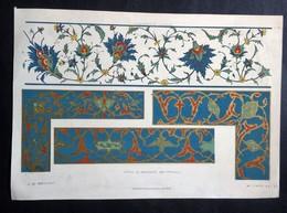 Lithographie Représentant Des Détails D'Architecture De Décoration D'Ornements De La Perse. - Lithographies