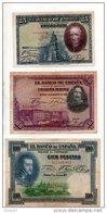 ESPAGNE . 3 BILLETS . 25, 50, 100 PESETAS . FELIPE II, VELASQUEZ, CALDERON DE LA BARCA - Réf. N°10806 - - [ 1] …-1931 : First Banknotes (Banco De España)