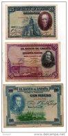 ESPAGNE . 3 BILLETS . 25, 50, 100 PESETAS . FELIPE II, VELASQUEZ, CALDERON DE LA BARCA - Réf. N°10804 - - [ 1] …-1931 : First Banknotes (Banco De España)