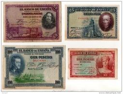 ESPAGNE . 4 BILLETS . 10, 25, 50, 100 PESETAS . FELIPE II, VELASQUEZ, CALDERON DE LA BARCA - Réf. N°10801 - - [ 1] …-1931 : Primeros Billetes (Banco De España)