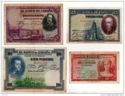 ESPAGNE . 4 BILLETS . 10, 25, 50, 100 PESETAS . FELIPE II, VELASQUEZ, CALDERON DE LA BARCA - Réf. N°10802 - - [ 1] …-1931 : Primeros Billetes (Banco De España)