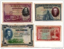 ESPAGNE . 4 BILLETS . 10, 25, 50, 100 PESETAS . FELIPE II, VELASQUEZ, CALDERON DE LA BARCA - Réf. N°10799 - - [ 1] …-1931 : First Banknotes (Banco De España)