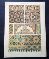 Lithographie Représentant Des Détails D'Architecture De Décoration D'Ornements Ara Be-Mauresque. - Lithographies