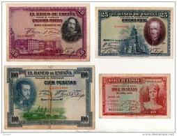 ESPAGNE . 4 BILLETS . 10, 25, 50, 100 PESETAS . FELIPE II, VELASQUEZ, CALDERON DE LA BARCA - Réf. N°10803 - - [ 1] …-1931 : First Banknotes (Banco De España)