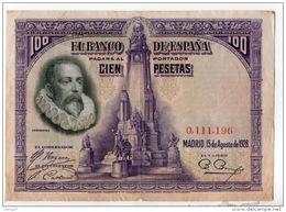 ESPAGNE . 100 CIEN PESETAS . MADRID 15 DE AGOSTO DE 1928 . CERVANTES - Réf. N°10797 - - 100 Pesetas