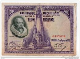ESPAGNE . 100 CIEN PESETAS . MADRID 15 DE AGOSTO DE 1928 . CERVANTES - Réf. N°10796 - - 100 Pesetas