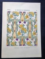 Lithographie Ancienne, Représentant Des Décorations, A.BROUARD, Carton De Tapisserie., Guérinet, Ed. - Lithographies