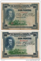 ESPAGNE . 100 CIEN PESETAS . MADRID 1° DE JULIO DE 1925 . FELIPE II . 2 BILLETS - Réf. N°10792 - - 100 Pesetas