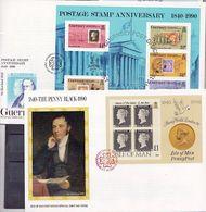 Isle Of Man & Guernsey 1990: Sir Rowland Hill & Penny Black Michel Block 12 (Man) & Block 6 (Guernsey) Auf FDC - Rowland Hill