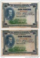 ESPAGNE . 100 CIEN PESETAS . MADRID 1° DE JULIO DE 1925 . FELIPE II . 2 BILLETS - Réf. N°10793 - - 100 Pesetas