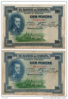 ESPAGNE . 100 CIEN PESETAS . MADRID 1° DE JULIO DE 1925 . FELIPE II . 2 BILLETS - Réf. N°10794 - - 100 Pesetas