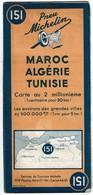 Carte Michelin 1949 N° 151 - Maroc - Algérie - Tunisie - 3 Scans - Cartes Routières