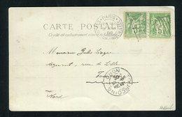 Belle Carte Avec Une Paire De N° 102 - Cachet Drapeau Exposition De Paris 1900 - 1876-1898 Sage (Tipo II)