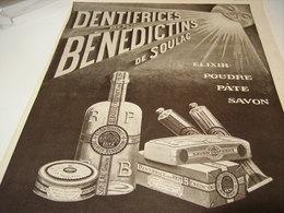 ANCIENNE PUBLICITE  DENTIFRICE BENEDICTINS DE SOULAC  1922 - Perfume & Beauty