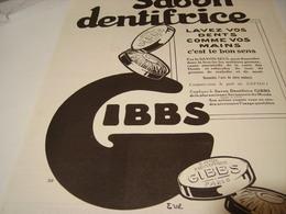 ANCIENNE PUBLICITE SAVON DENTRIFICE EFFICACE GIBBS    1923 - Perfume & Beauty