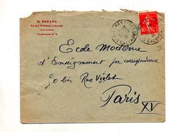 Lettre Cachet Saint Pierre Sur Dives Sur Semeuse - Marcophilie (Lettres)