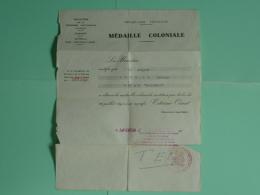 """Indochine - Brevet De Medaille Coloniale GC 2/22 """"Languedoc"""" - Saigon 15/08/1954 - Unclassified"""
