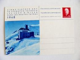 Postal Stationery Card Czehoslovakia 1948 Winter Tatras  Mountains - Cartes Postales