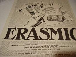 ANCIENNE PUBLICITE SAVON DE BEAUTE ERASMIC 1923 - Perfume & Beauty