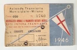 BIGLI--0006-- ABBONAMENTO ANNUALE A PAGAMENTO RATEALE MENSILE-AZIENDA TRANVIARIA MUNICIPALE-MILANO- ANNO 1946 - Europa
