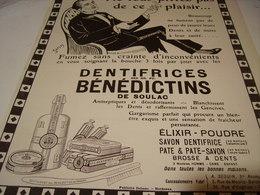 ANCIENNE PUBLICITE  DENTIFRICE BENEDICTINS DE SOULAC  1923 - Perfume & Beauty