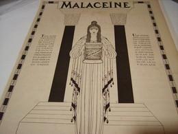 ANCIENNE PUBLICITE CREME   MALACEINE 1923 - Perfume & Beauty