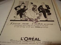 ANCIENNE PUBLICITE  SI JEUNESSE SAVAIT  L OREAL 1922 - Perfume & Beauty