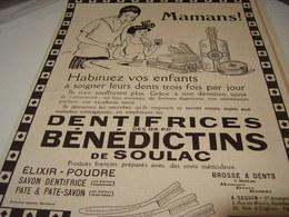 ANCIENNE PUBLICITE MAMAN  DENTIFRICE BENEDICTINS DE SOULAC  1923 - Perfume & Beauty