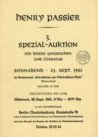 3. Passier  Auktion 1961 - Auktionskataloge