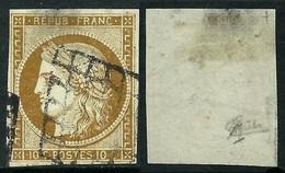 France N° 1 Obl. Grille - Signé Calves - Cote 340 Euros - 1849-1850 Cérès