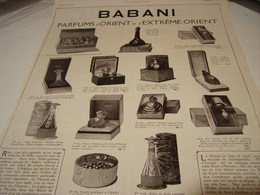 ANCIENNE PUBLICITE PARFUM D ORIENT ET EXTREME  DE BABANI 1922 - Perfume & Beauty
