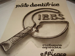 ANCIENNE PUBLICITE PATE DENTIFRICE GIBBS    1922 - Perfume & Beauty