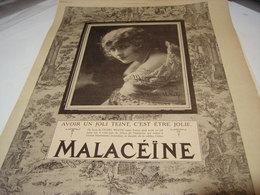 ANCIENNE PUBLICITE CREME   MALACEINE AVEC PEARL WHITE 1923 - Parfums & Beauté