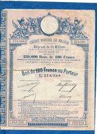 CREDIT FONCIER DE FRANCE - Emprunt Du 28 12 1887 - Bons De 100 Francs N° 218388 - Actions & Titres