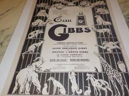 ANCIENNE PUBLICITE EAU DE  GIBBS    1922 - Perfume & Beauty